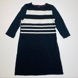 Talbots long sleeve black and white striped dress